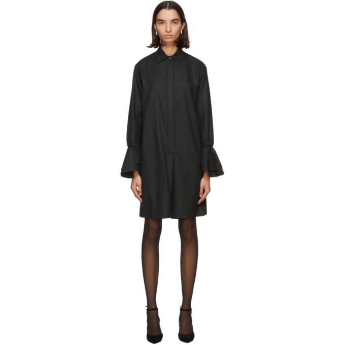 Max Mara Maxmara Segovia Wool Flannel Dress In 001 Drkgry