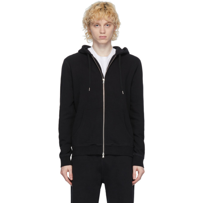 Sunspel Pull a capuche et glissiere noir Loopback