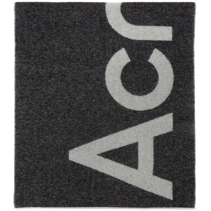 Acne Studios ACNE STUDIOS BLACK LOGO SCARF