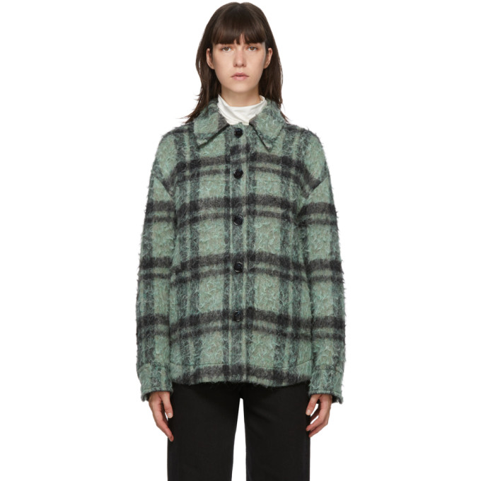 Acne Studios Acne Studios Green and Black Wool Check Jacket