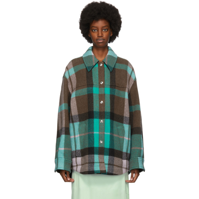 Acne Studios Acne Studios Green and Pink Wool Checkered Overshirt Jacket