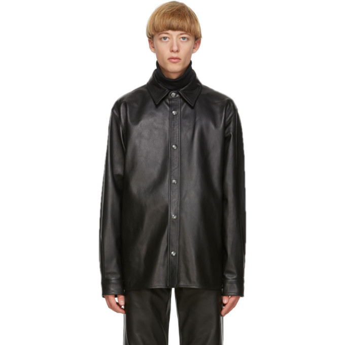 Acne Studios Black Leather Overshirt Jacket  - buy with discount