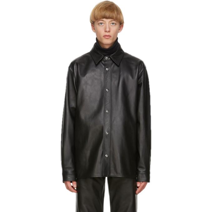 Acne Studios ブラック レザー オーバーシャツ ジャケット