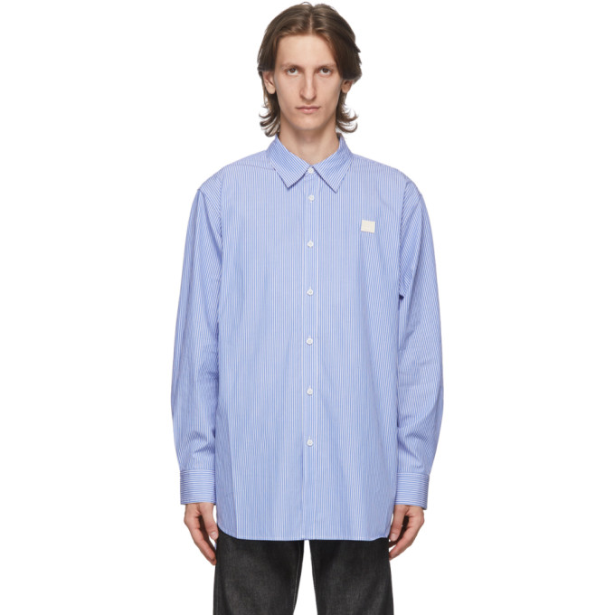 Acne Studios ACNE STUDIOS BLUE AND WHITE PATCH STRIPED SHIRT
