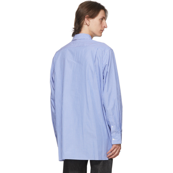 ACNE STUDIOS Cottons ACNE STUDIOS BLUE AND WHITE PATCH STRIPED SHIRT