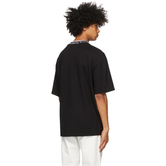 ACNE STUDIOS T-shirts BLACK JACQUARD LOGO T-SHIRT