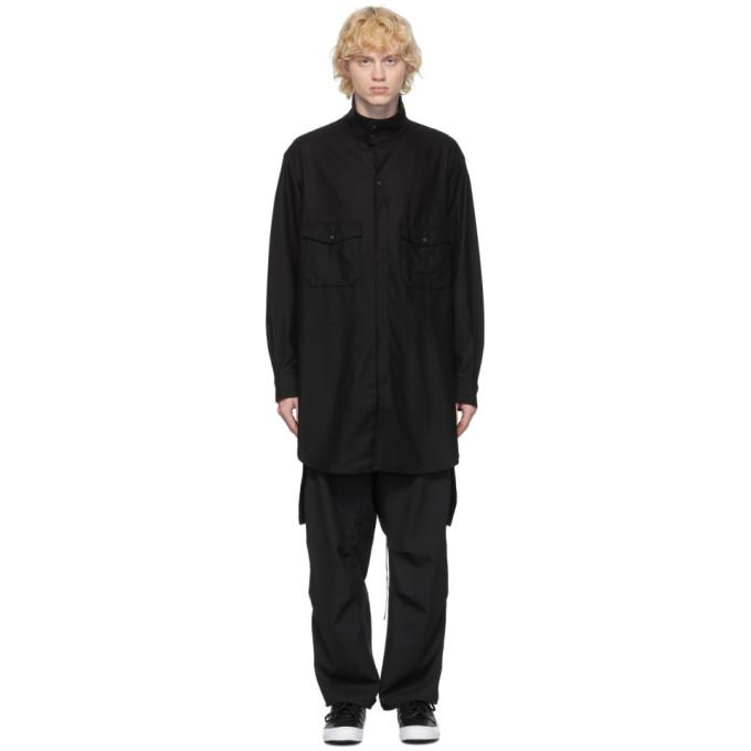 Y-3 ブラック ウール フランネル クラシック シャツ