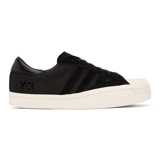 Y-3 Yohji Star Leather And Suede-trimmed Canvas Sneakers In Black