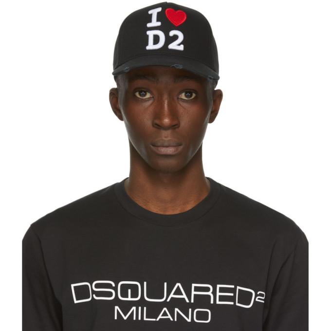 Dsquared2 Casquette de base-ball noire I Heart D2