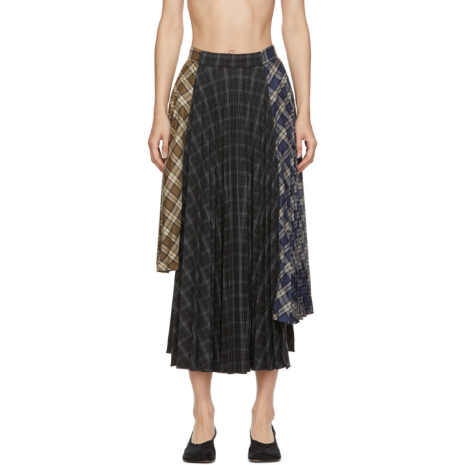 Rokh ROKH MULTICOLOR ASYMMETRIC PLEAT SKIRT