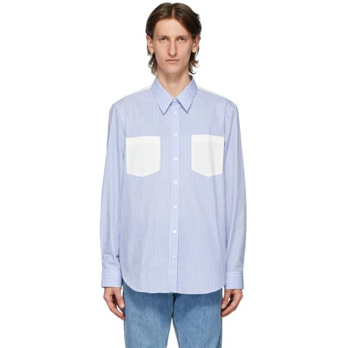 Helmut Lang Chemise rayee a logo bleue et blanche