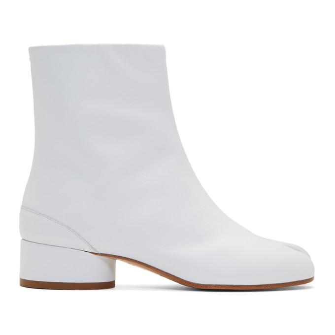 ホワイト Tabi 足袋 ロー ヒール ブーツ
