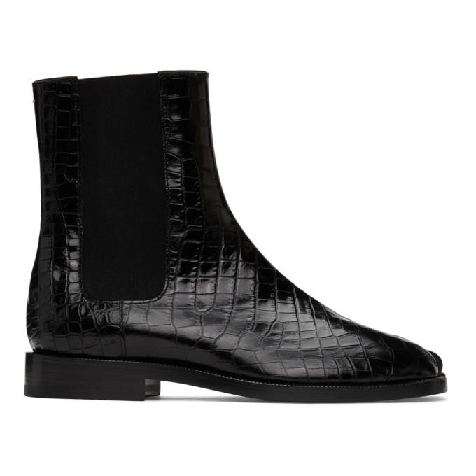 ブラック クロコ Tabi チェルシー ブーツ