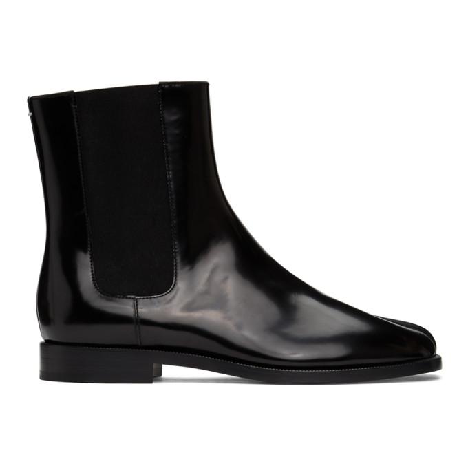 Maison Margiela Tabi Split-toe Patent-leather Chelsea Boots In Black