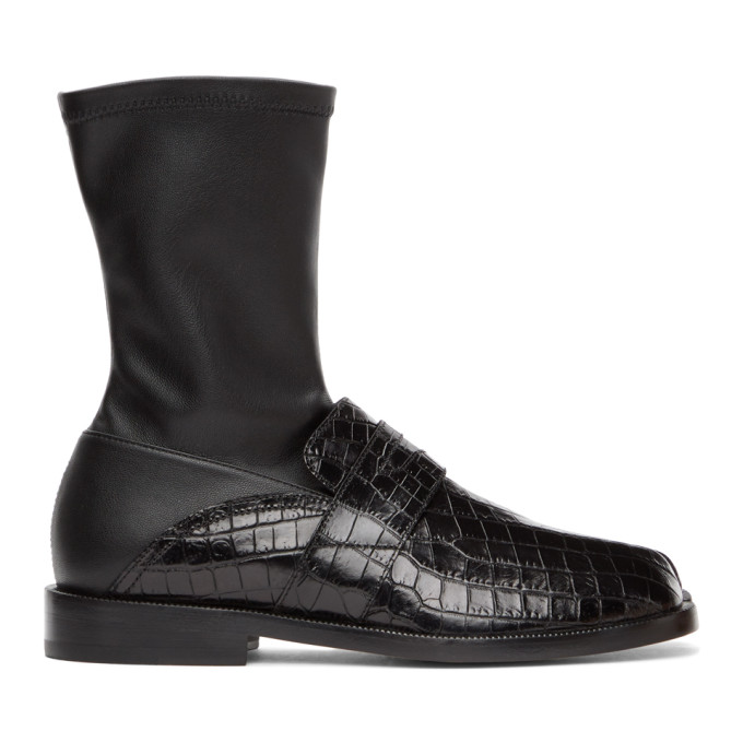 ブラック クロコ ローファーTabi 足袋 ブーツ