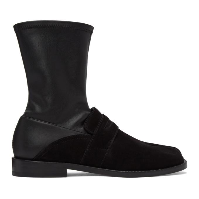 Maison Margiela MAISON MARGIELA BLACK SUEDE LOAFER SOCK TABI BOOTS