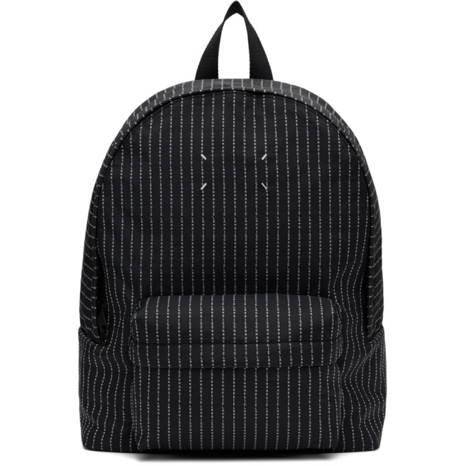 Maison Margiela Canvas Backpack With Logo Embroidery In T8013 Black