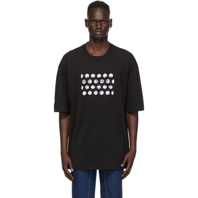 Maison Margiela Oversized Logo-print Cut-out Cotton-jersey T-shirt In 900 Black