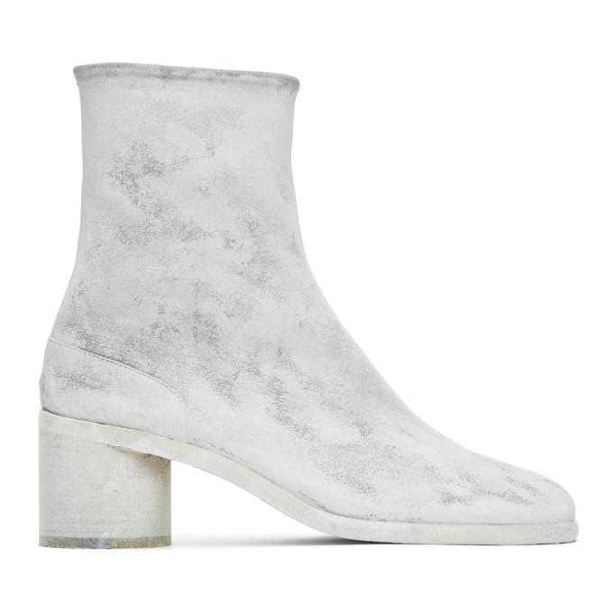 グレー and ホワイト Painted ミッド ヒール 足袋 Tabi ブーツ