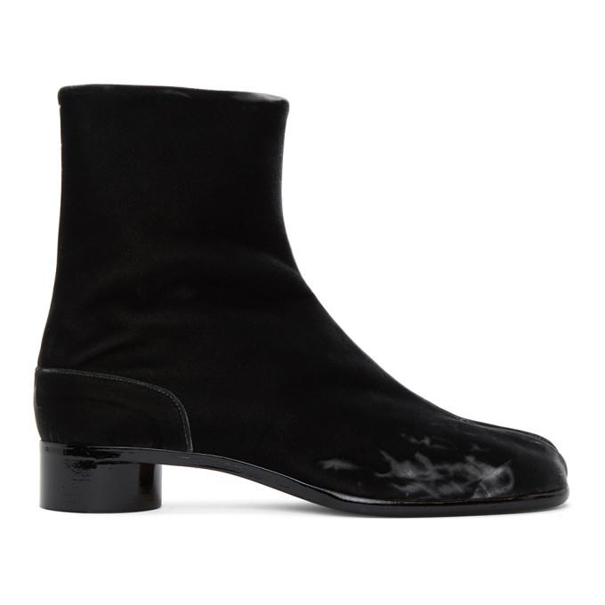 ブラック ベルベット Tabi 足袋 ブーツ