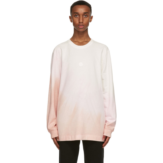 Moncler Genius Cottons MONCLER GENIUS 6 MONCLER 1017 ALYX 9SM WHITE AND PINK JERSEY LONG SLEEVE T-SHIRT