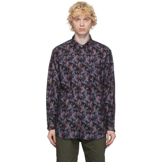Engineered Garments ブラック and パープル フランネル フローラル シャツ