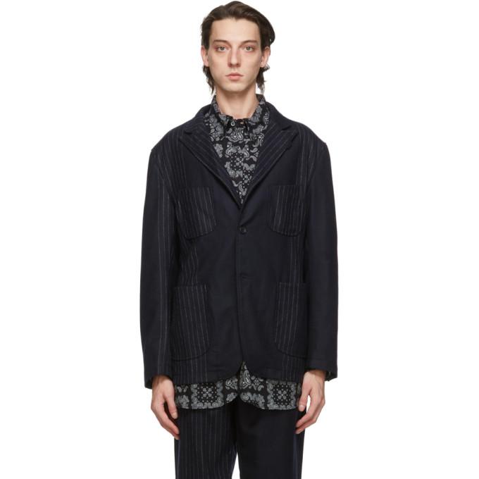 Engineered Garments Engineered Garments Navy Wool Striped NB Jacket