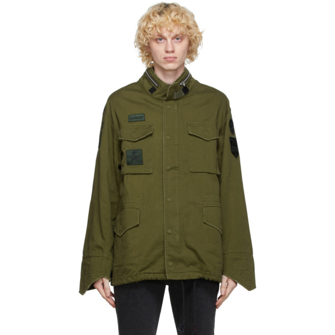 Sankuanz Green Military Jacket In Olive Green