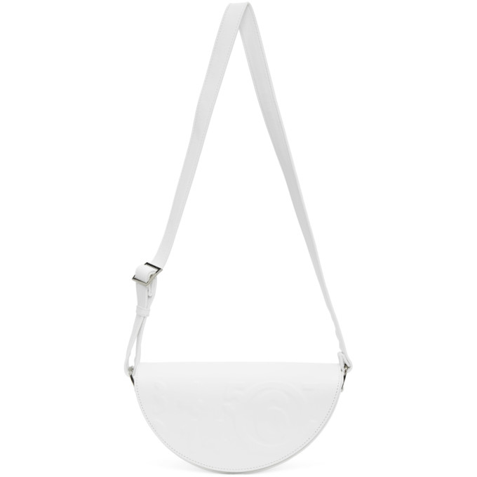 Mm6 Maison Margiela MM6 MAISON MARGIELA WHITE EMBOSSED LOGO SHOULDER BAG