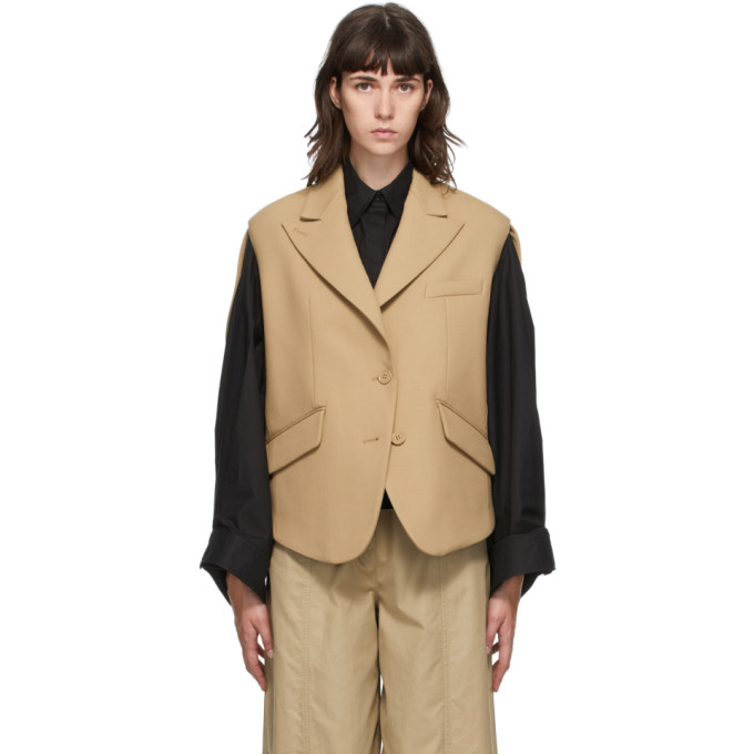 Mm6 Maison Margiela Wools MM6 MAISON MARGIELA BEIGE WOOL CIRCLE SLEEVELESS BLAZER