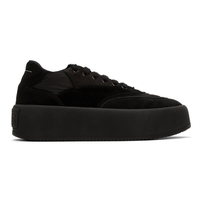 MM6 Maison Margiela 黑色绒面革厚底运动鞋