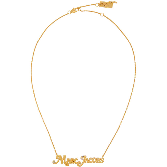 Marc Jacobs MARC JACOBS GOLD NEW YORK MAGAZINE EDITION THE SMALL MJ NAMEPLATE NECKLACE