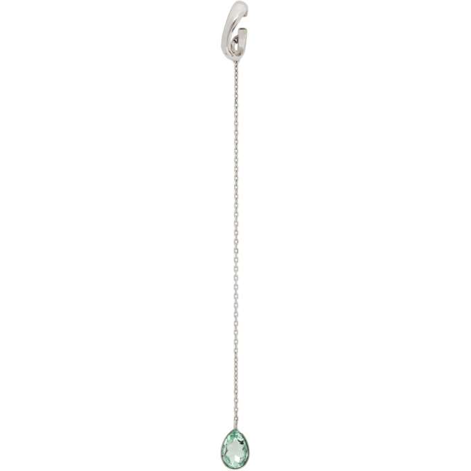 Alan Crocetti ALAN CROCETTI SSENSE EXCLUSIVE SILVER AND GREEN AMETHYST EAR CUFF