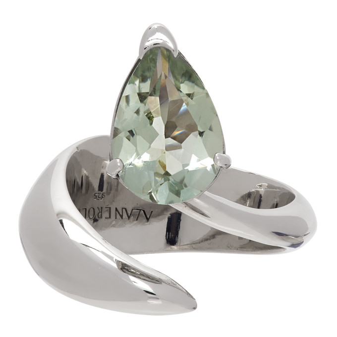 Alan Crocetti Silver & Green Amethyst Alien Ring In Rhodium