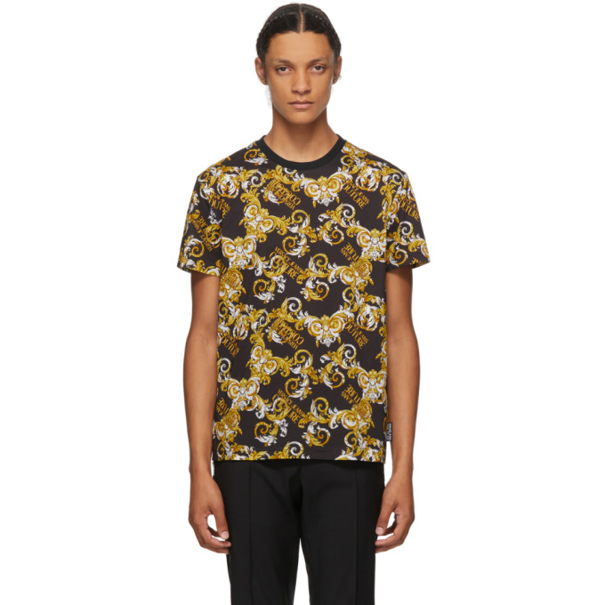 Versace Jeans Couture Print T-shirt Baroque Black Gold In E899 Nero