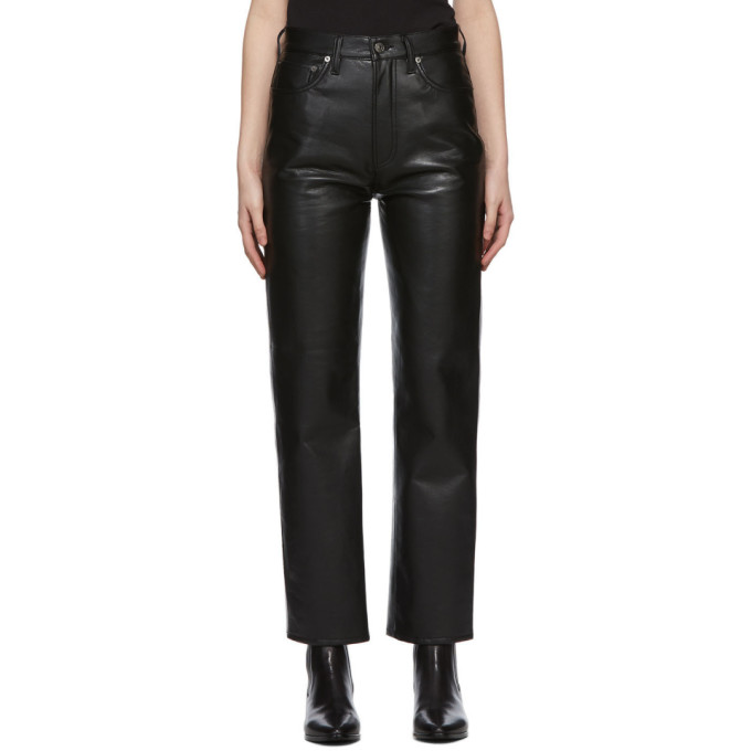 Agolde AGOLDE BLACK RECYCLED LEATHER 90S PINCH PANTS