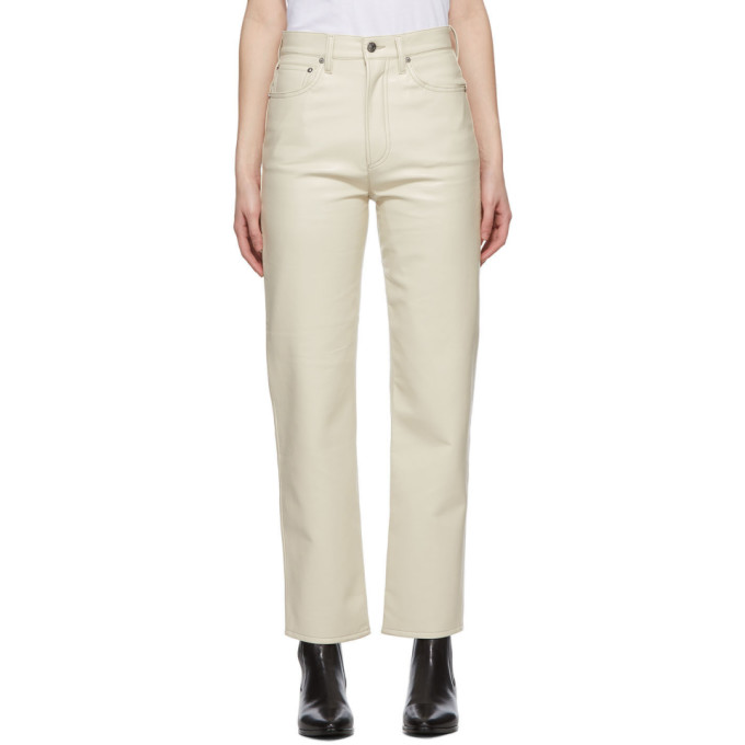 Agolde AGOLDE OFF-WHITE RECYCLED LEATHER 90S PINCH PANTS