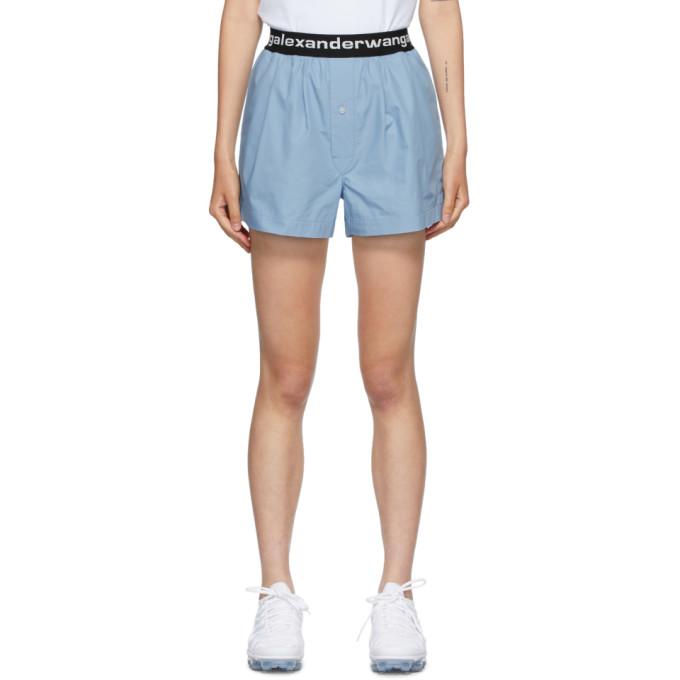 Alexander Wang T Alexanderwang.t Blue Logo Boxer-style Shorts