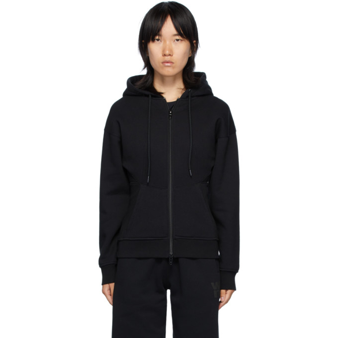 Diesel ALEXANDERWANG.T BLACK SCULPTED ZIP-UP HOODIE