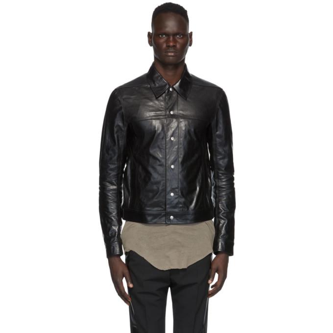 Rick Owens Rick Owens Black Leather Worker Jacket