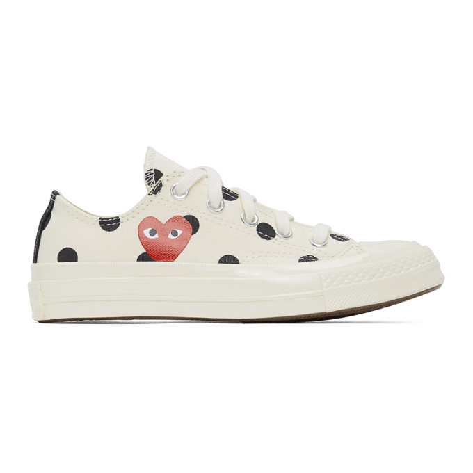 Comme des Garcons Play Baskets a pois blanches Heart Chuck 70 Low edition Converse