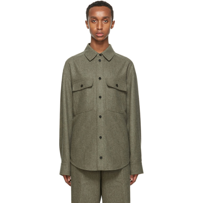 グリーン ウール ポケット シャツ