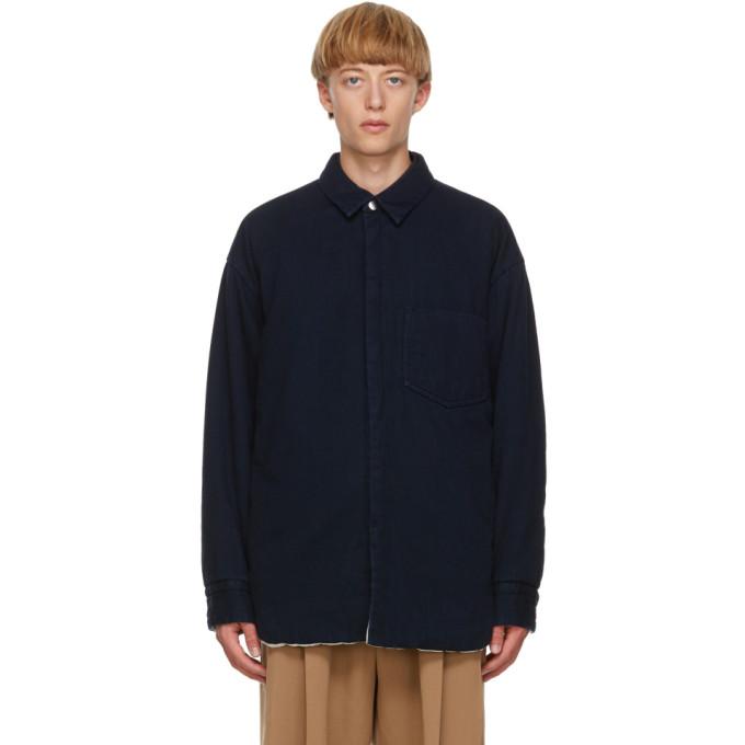 ブルー デニム パッド シャツ