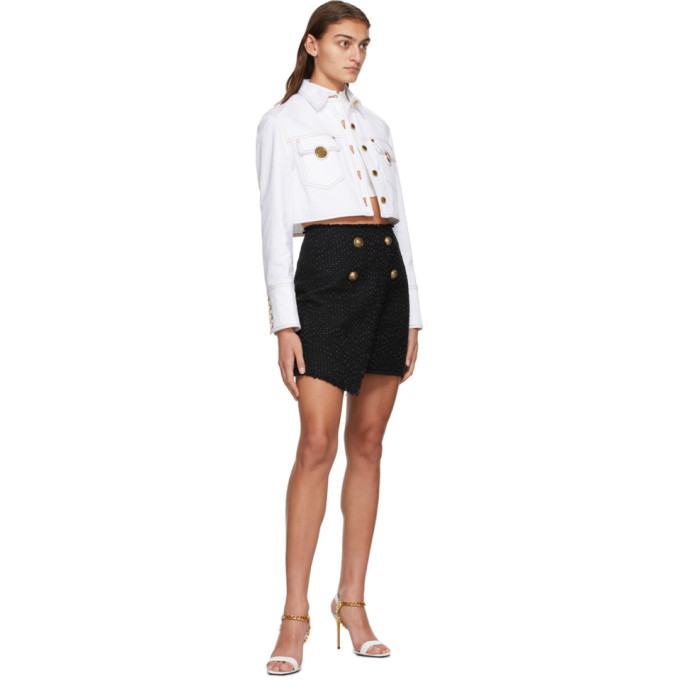 BALMAIN Cottons BALMAIN BLACK TWEED WRAP ASYMMETRIC MINISKIRT