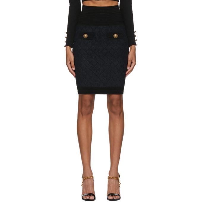 Balmain Mini skirts BALMAIN BLACK FLUFFY DIAMOND MINISKIRT