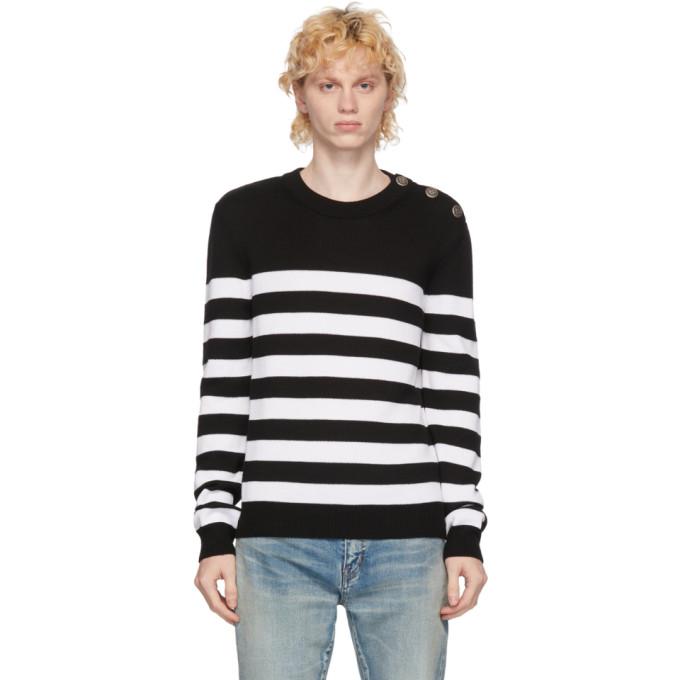 Balmain ホワイト and ブラック ウール Nautical セーター