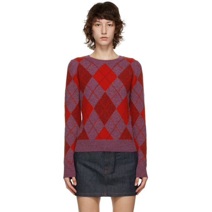 A.p.c. A.P.C. PURPLE AND RED HELENE SWEATER