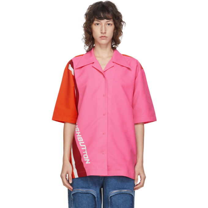 Pushbutton Chemise a manches courtes et logo rose et orange