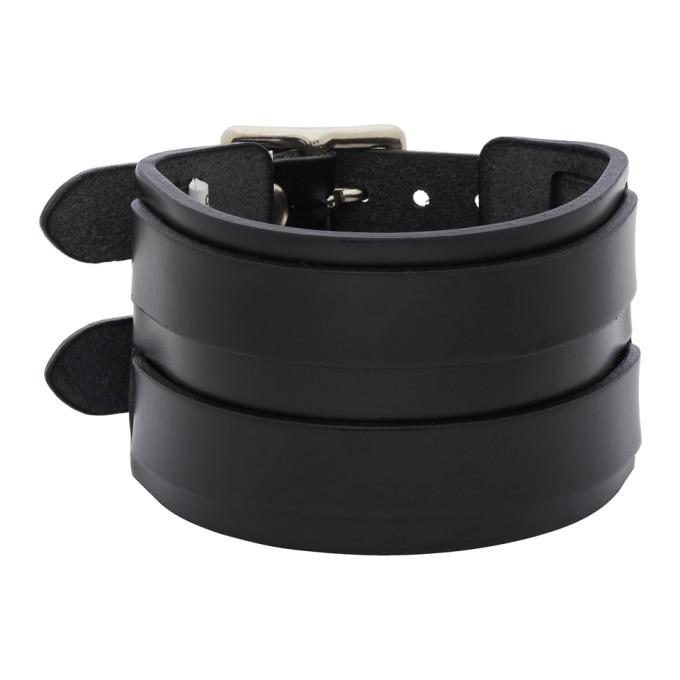 Junya Watanabe Black Leather Double Bucket Bracelet In 1 Black