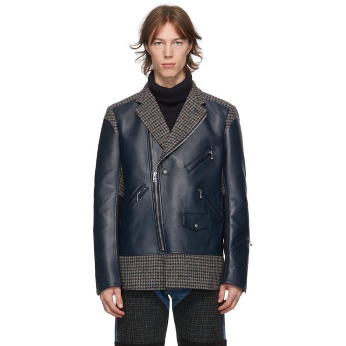 Junya Watanabe Junya Watanabe Navy Leather and Tweed Jacket
